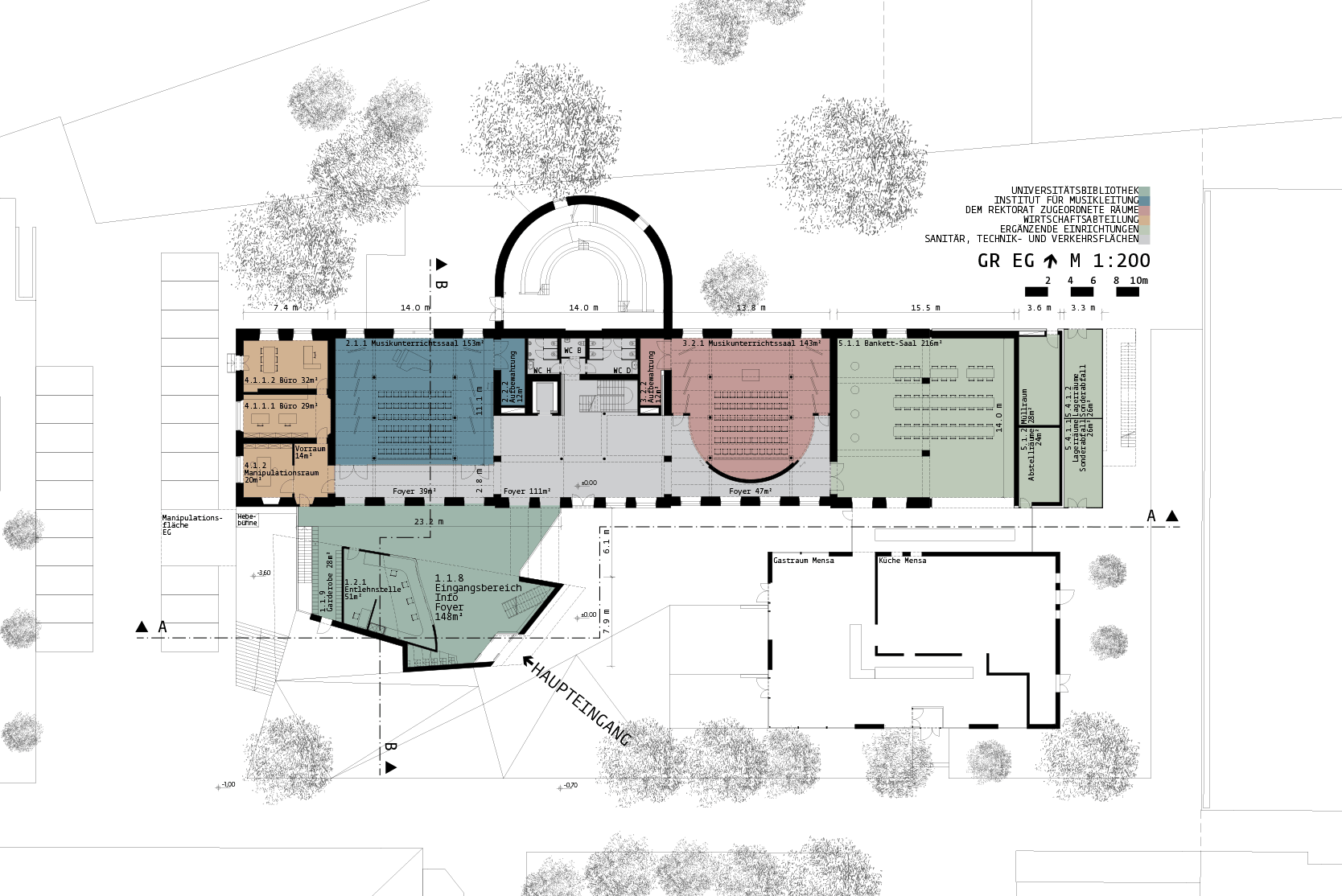Library for the University of Music and performing Arts Vienna: Plan +-0