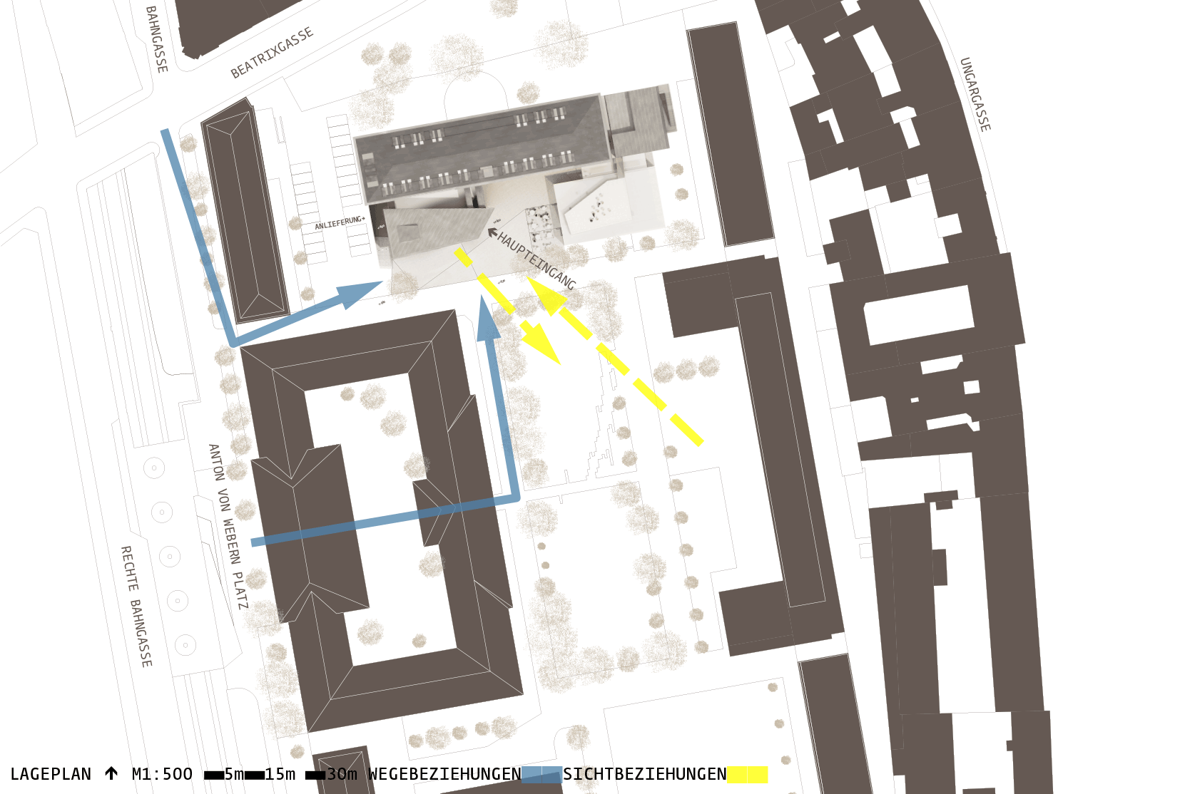 Library for the University of Music and performing Arts Vienna: Site plan