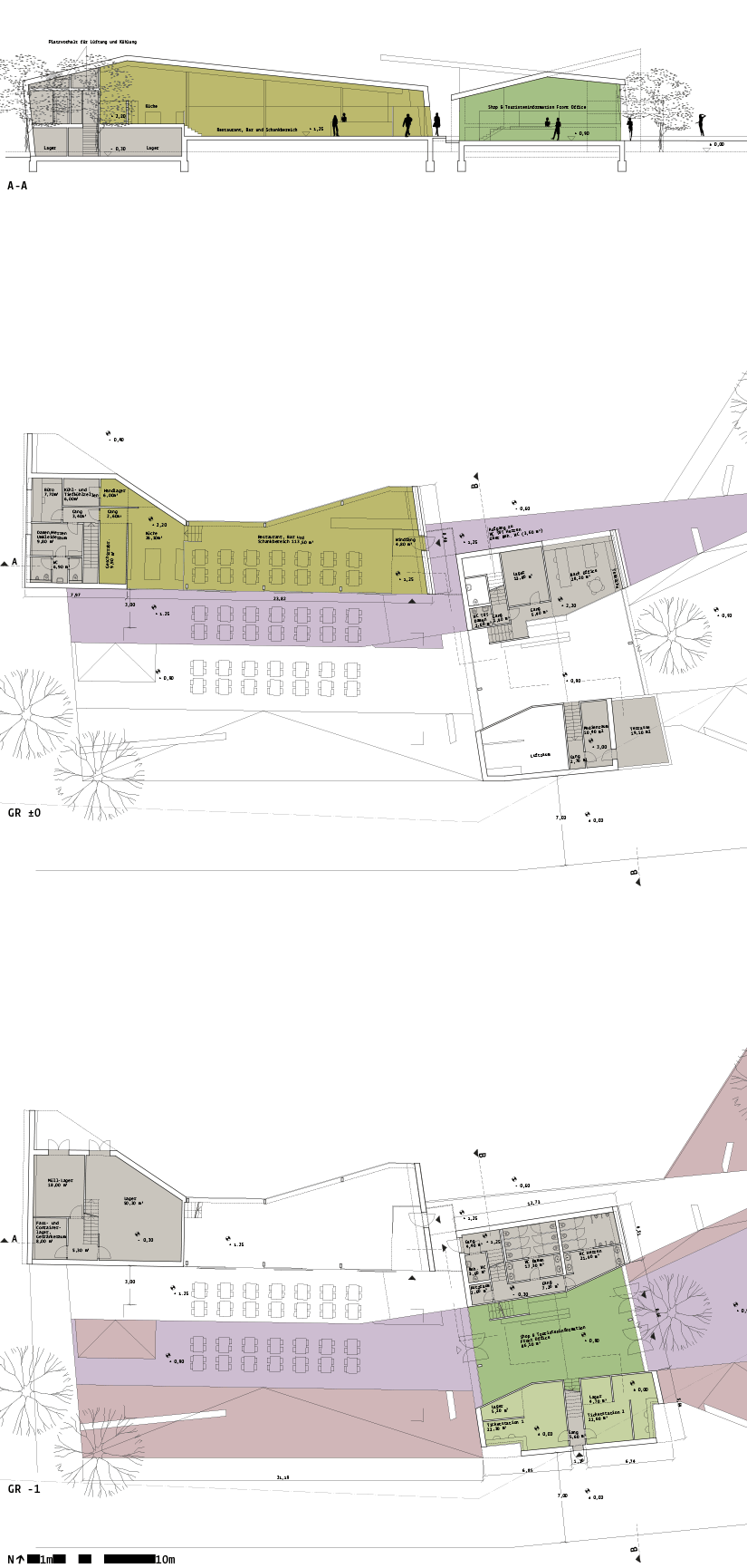 Stage on the Danube Krems/Stein: plans/section