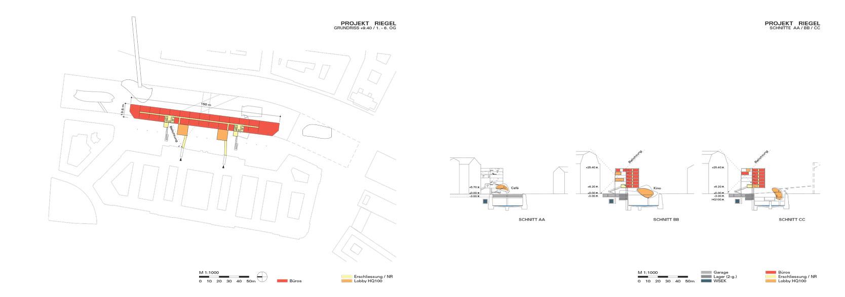Wienfluss Architektur: Plan/Sections Five-storey structure