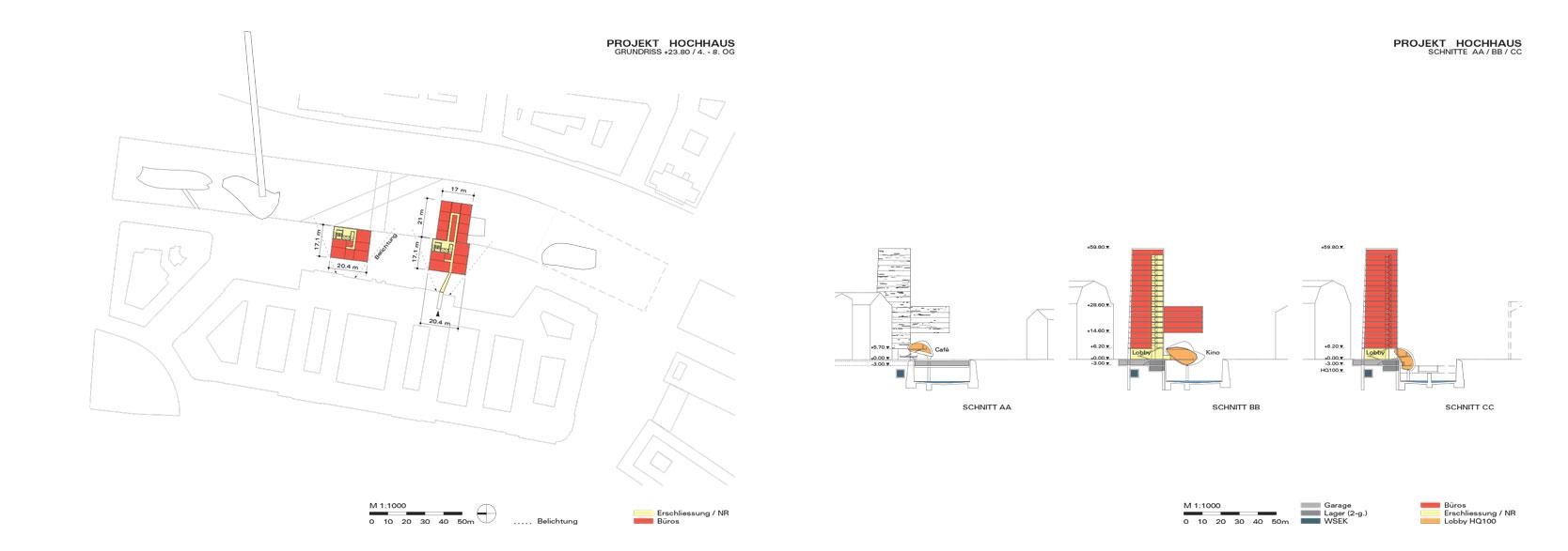 Wienfluss Architektur: Plan/Sections High-rise building